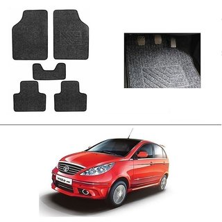 KunjZone Best Quality Set of 5 Carpet Black Car Foot Mat / Car Floor Mat for  Tata Vista Tech