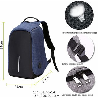 07fd0caa8b Buy Andride Anti-theft Laptop Backpack Bags with USB Charging Port for Men  Women Students Computer Bag - Blue Online   ₹1124 from ShopClues