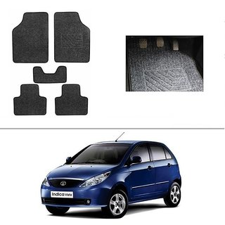 KunjZone Best Quality Set of 5 Carpet Black Car Foot Mat / Car Floor Mat for  Tata Indica Vista