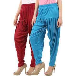 Buy That Trendz Women's Cotton Viscose Lycra Patiyala Salwar Harem Bottoms Patiala Pants Maroon Turquoise Combo Pack of 2