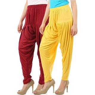 Buy That Trendz Women's Cotton Viscose Lycra Patiyala Salwar Harem Bottoms Patiala Pants Maroon Yellow Combo Pack of 2
