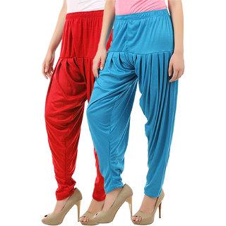 Buy That Trendz Women's Cotton Viscose Lycra Patiyala Salwar Harem Bottoms Patiala Pants Red Turquoise Combo Pack of 2