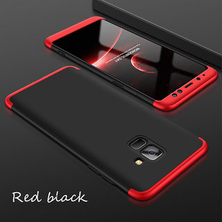 newest 52930 e022f 3 in 1 360 Full Body Slim Fit Protection Hybrid Hard Back Cover for Samsung  Galaxy J8 - Red