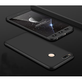 premium selection f38b6 dc638 3 in 1 360 Full Body Slim Fit Protection Hybrid Hard Back Cover for Xiaomi  Mi A1 - Black