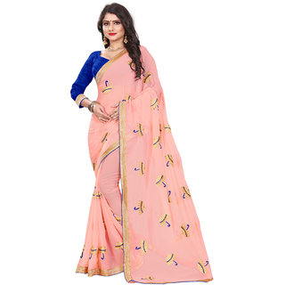 Ajira Baby pink and Blue Georgette Embroidered Saree with blouse