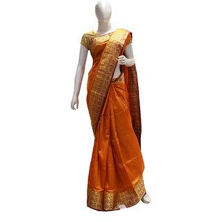Indians Boutique Pure Silk Kanjivaram Saree (Golden,)