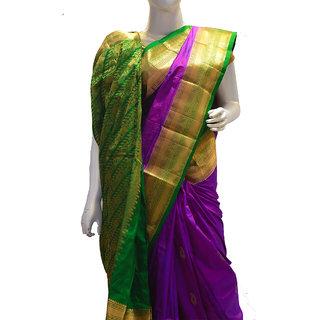 Indians Boutique Pure Silk Kanjivaram Saree (Purple,Green)