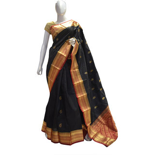 Indians Boutique Pure Silk Kanjivaram Saree (Black,Brown)
