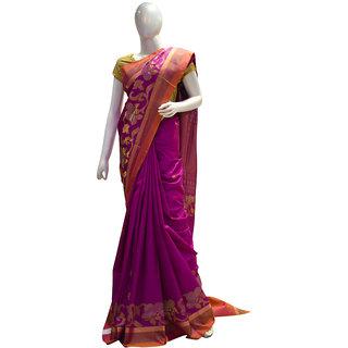 Indians Boutique Pure Silk Kanjivaram Saree (Magenta,Gold)
