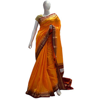 Indians Boutique Pure Silk Kanjivaram Saree (Turmeric,Brown)