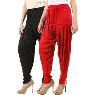 Buy That Trendz Women's Cotton Viscose Lycra Patiyala Salwar Harem Bottoms Patiala Pants Black Red Combo Pack of 2