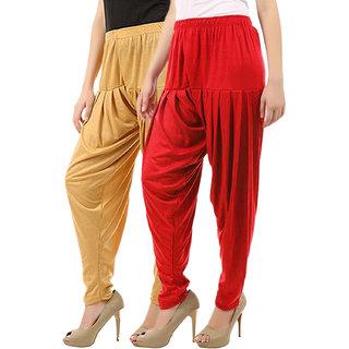 Buy That Trendz Women's Cotton Viscose Lycra Patiyala Salwar Harem Bottoms Patiala Pants Dark Skin Red Combo Pack of 2