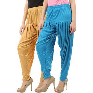 Buy That Trendz Women's Cotton Viscose Lycra Patiyala Salwar Harem Bottoms Patiala Pants Dark Skin Turquoise Combo Pack of 2