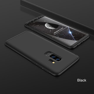 3 in 1 360 Full Body Slim Fit Protection Hybrid Hard Back Cover for Samsung Galaxy S9 Plus - Black