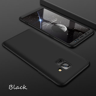 3 in 1 360 Full Body Slim Fit Protection Hybrid Hard Back Cover for Samsung Galaxy J6 - Black
