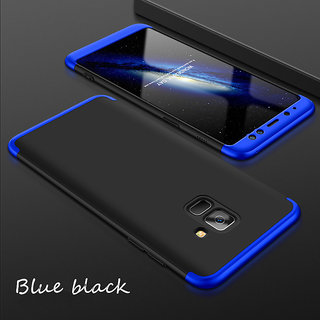 3 in 1 360 Full Body Slim Fit Protection Hybrid Hard Back Cover for Samsung Galaxy J6 - Blue