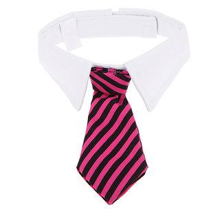 Futaba Puppy Striped Adjustable Necktie Collar - Pink