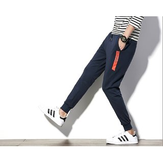 Joggers Park  Navy Blue Skinny Fit Sports Track Pant For Men