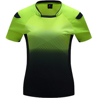 Athlero Cotton Sports Activewear Green Black dotted T shirts for women