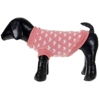 Futaba Lovely White Hearts Pattern Pet/Dog Sweater - Pink - M