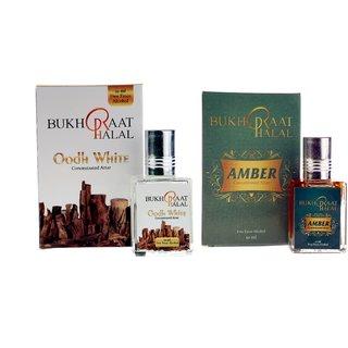 Bukhraat Halal Oriental Treat Alcohol free Amber  Oudh White Attar Combo for Prayer  Daily Natural Freshenesh (Set Of 2)