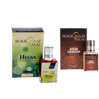 Bukhraat Halal Oriental Treat Alcohol free Kesar Chandan  Heena Attar Combo for Prayer  Daily Natural Freshenesh (Set Of 2)