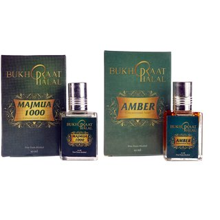 Bukhraat Halal Oriental Treat Alcohol free Amber  Majmua 1000 Attar Combo for Prayer  Daily Natural Freshenesh (Set Of 2)