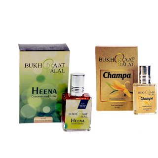 Bukhraat Halal Oriental Treat Alcohol free Champa  Heena Attar Combo for Prayer  Daily Natural Freshenesh (Set Of 2)