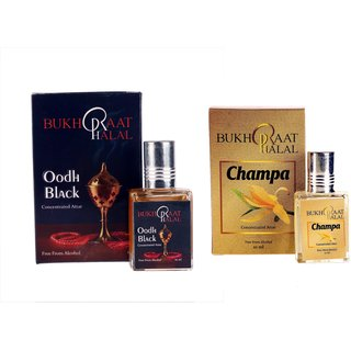 Bukhraat Halal Oriental Treat Alcohol free Champa  Oudh Black Attar Combo for Prayer  Daily Natural Freshenesh (Set Of 2)