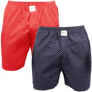 Neska Moda Men Pack Of 2 Elasticated Cotton Red and Dark Blue Boxers With 1 Back Pocket XB151andXB159