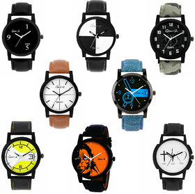 Gen-Z trendy Graphic Leather Strap Combo of 8 watches