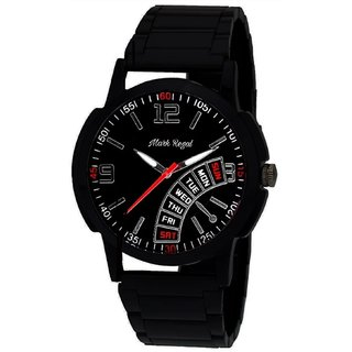 Mark Regal Party Wear Round Black Leather Strap Analog Watch For Men