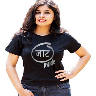 HEYUZE Jaat Inside Black Printed Women Cotton T-Shirts