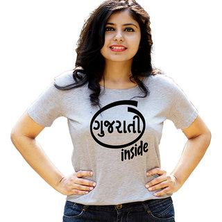 HEYUZE Gujrati Inside Grey Printed Women Cotton T-Shirts