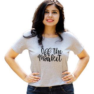 HEYUZE Engaged Quote Grey Printed Women Cotton T-Shirts