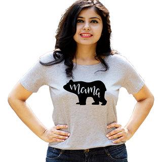HEYUZE Mama Bear Mother Grey Printed Women Cotton T-Shirts