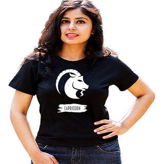 HEYUZE Zodiac Sign Capricorn Black Printed Women Cotton T-Shirts