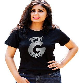 HEYUZE Initial Letter Alphabet G Owl Black Printed Women Cotton T-Shirts