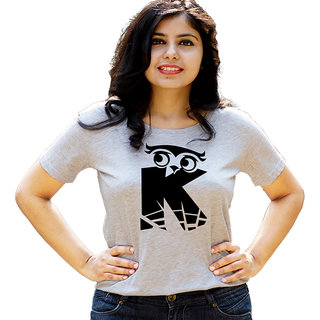 HEYUZE Initial Letter Alphabet K Owl Grey Printed Women Cotton T-Shirts