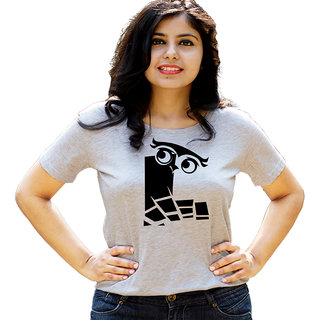 HEYUZE Initial Letter Alphabet L Owl Grey Printed Women Cotton T-Shirts