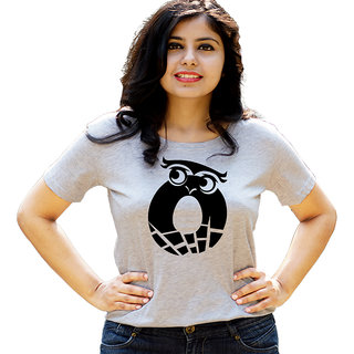 HEYUZE Initial Letter Alphabet O Owl Grey Printed Women Cotton T-Shirts