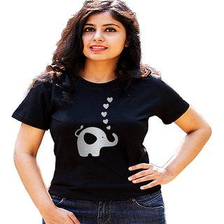 HEYUZE Baby Elephant Black Printed Women Cotton T-Shirts