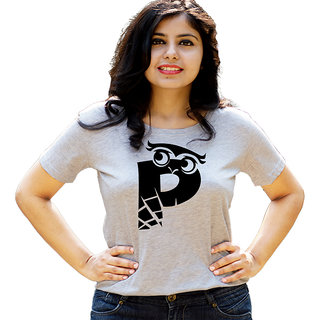 HEYUZE Initial Letter Alphabet P Owl Grey Printed Women Cotton T-Shirts