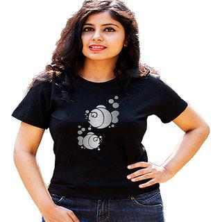 HEYUZE Cute Fish Black Printed Women Cotton T-Shirts