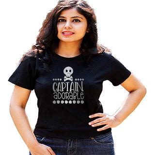 HEYUZE Captain Adorable Black Printed Women Cotton T-Shirts