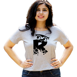 HEYUZE Initial Letter Alphabet R Owl Grey Printed Women Cotton T-Shirts