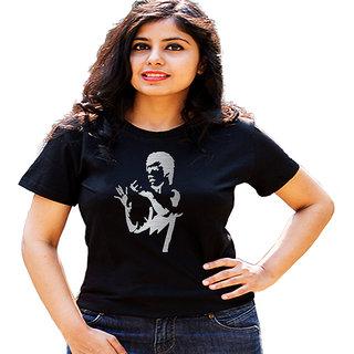 HEYUZE Bruce Lee Black Printed Women Cotton T-Shirts