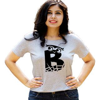 HEYUZE Initial Letter Alphabet B Owl Grey Printed Women Cotton T-Shirts