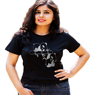 HEYUZE Panda Bear Black Printed Women Cotton T-Shirts