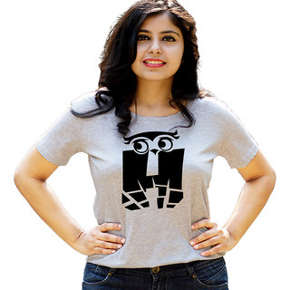 HEYUZE Initial Letter Alphabet H Owl Grey Printed Women Cotton T-Shirts